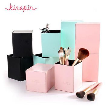 LMFONHC KINEPIN Makeup Brushes Holder Magnetic Make Up Brush Pen Holder Cosmetic Tool Organizer Empty Portable PU Leather Container