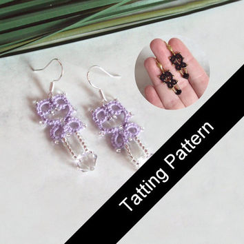 PDF Tatting Pattern Lillian Earrings - Small and Mini Designs - Intermediate