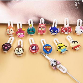 Cartoon Cable Protector Organizer Bobbin Winder Cute Wire Cord Management Marker Holder Cover For iPhone Earphone MP3 Cable