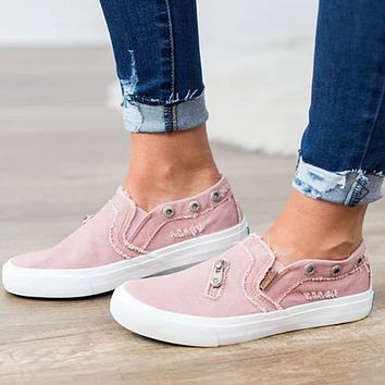 Large size female canvas shoes denim zipper one pedal flat lazy shoes casual shoes