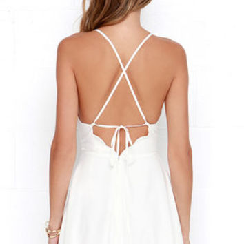 Play On Curves Ivory Backless Dress