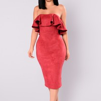 Calling My Name Suede Dress - Burgundy