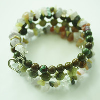 Green Turquoise and Gemstone Chip Beaded Wrap Memory wire bracelet/ Silver Heart charm/ Handmade bracelet