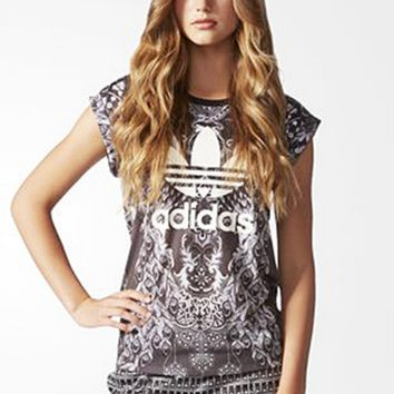 """Adidas"" Fashion Peacock Pattern Movement Leisure Round Neck Short Sleeve T-shirt"