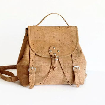 Cork Backpack / Eco friendly City Backpack / Vegan Travel Bag / Gift Idea for Women