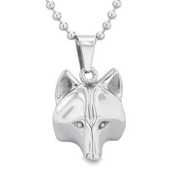 Amulet Wolf Courage and Self Confidence Powers Wise Head Pendant on 18 Inch Chain Necklace