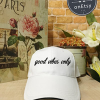 Good Vibes Only Baseball Hat, Baseball Cap Low Profile, Black/White Pinterest Instagram