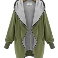 Long Cuff Sleeve Hooded Zip Up Casual Jacket