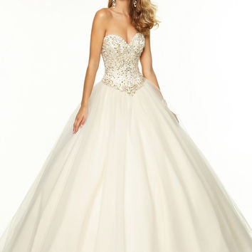 Sweetheart Beaded Tulle Ball Gown Paparazzi Prom Dress By Mori Lee 97031