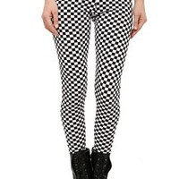 Black And White Checkered Leggings - 757537