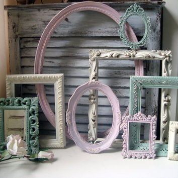 Pink Green And Cream Vintage Frame Set Cottage Chic Of 9 Frames Mirror