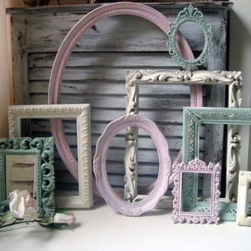Pink Green and Cream Vintage Frame Set, Cottage Chic Set of 9 Frames and Mirror, Oval Ornate Frames, Nursery Decor, Pastel Frame Collection