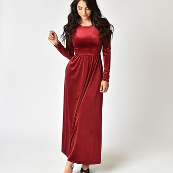 Vintage Style Burgundy Velvet Long Sleeve Midi Dress