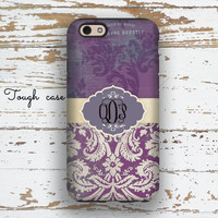 Monogram Iphone 6 case, Unique Iphone 5c case, Pretty iphone 6s case, Floral Iphone 5 case, Winter fashion accessories, Purple grunge (9784)