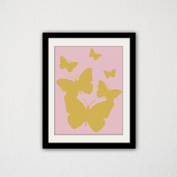 "Gold and Pink Butterflies. Baby Girl. Nursery. Girls Bedroom. For Her. Cute. Minimalist. Modern. Simple. Animal. Butterfly. 8.5x11"" Print"