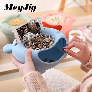 MeyJig Double Layer Dry Fruit Containers Garbage Holder Plate Dish Organizer Multifunctional Plastic Snacks Seeds Storage Box