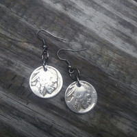 Buffalo coin earrings. Authentic American indian nickel coins. Coin jewelry.