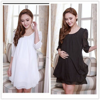 White/Black Dresses For Pregnant Women Casual Maternity Gravida Dress Chiffon Dresses For Pregnant = 1946471876
