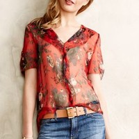 Gladiolus Sheer Silk Blouse by Meadow Rue Red Motif