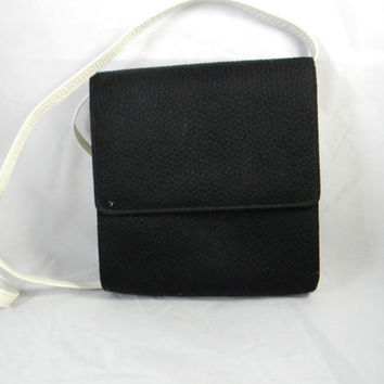 Vintage Charles Jourdan Black and White Leather and  Fabric Convertible Clutch