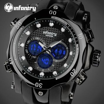 INFANTRY Mens Watches Big Dial LED Digital Watches Aviator Military Waterproof Sports Wristwatch Alarm Clock Relojes Hombre