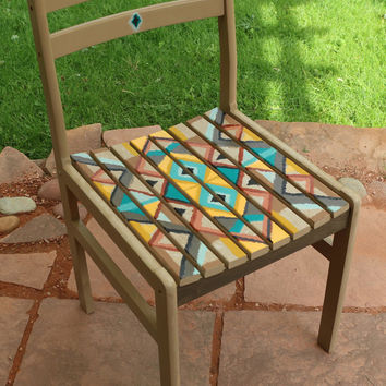 Hand painted whimsical chair southwestern design blanket motif