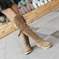 On Sale Hot Deal Winter Knee-length Flat Boots [9138741383]