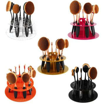 2017 New Arrival 5 Colors PMMA Plastic 10 Hole Oval Toothbrush Makeup Brush Holder Rack Organizer Cosmetic Display Shelf Tool