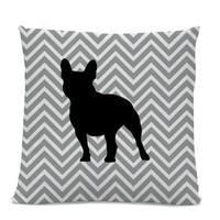 Chevron French Bulldog Pillow - Frenchie Silhouette Pillow - Gray Chevron Pillow - dog home decor - French Bulldog Decor - Dog Pillow