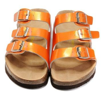 Birkenstock Leather Cork Flats Shoes Women Men Casual Sandals Shoes Soft Footbed Slippers-60