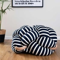 White & Dark Blue Stripes Knot Floor Cushion