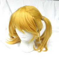 Blond Ponytail Wig, pony tail wig, short blond wig, Cosplay, Juliet, 2 Ponytails, side swept bang, heat safe, yellow, harley quinn, costume