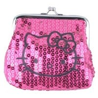Sanrio Hello Kitty Dazzled Sequin Kiss Lock Coin Purse Wallet - Choice of Colors!