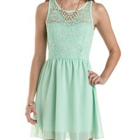 Lace & Chiffon Skater Dress by Charlotte Russe - Mint