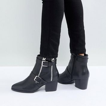 ASOS RATION Zip Ankle Boots in Water Based PU at asos.com