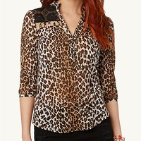 Cheetah Lace Cage Pullover