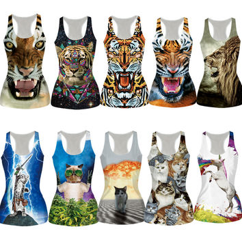 New Fitness Bustier Summer Tight  Sexy Animals Vest T Shirts Women Tops 3D Vest Sleeveless Top Tees Lions/Tiger/Cat