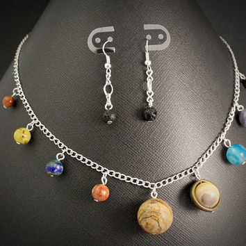 Solar System Necklace and Asteroid Earrings Set: Silver // Planet Earth Moon Stars Jewelry // Science Space Travel Nerd