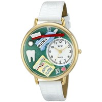 SheilaShrubs.com: Unisex Dental Assistant White Leather Watch G-0620032 by Whimsical Watches: Watches