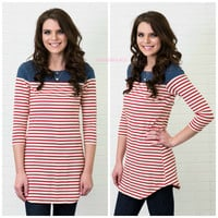 Land Of The Free Red & Denim Striped Top