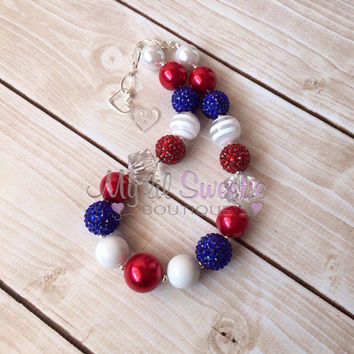 Patriotic necklace,  4th of July necklace, girls jewelry, children's necklace, bubblegum jewelry, bubblegum necklace