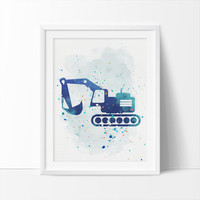 Construction Bulldozer, Bulldozer, Printable Art,  Boys Nursery Printable, Watercolor Art, Colorful Nursery, Kids Wall Art, Instant Download