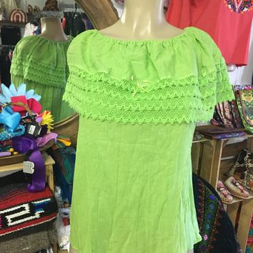 Mexican Campesina Top Lime Green Off-Shoulder