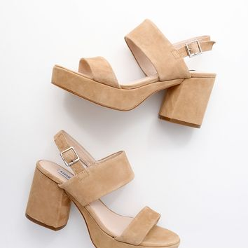 Reba Tan Suede Leather Platform Sandals