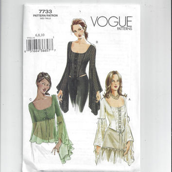 New Vogue 7733 Pattern for Misses' Lace-Up Top - Steampunk - Sizes 6-8 or 12-14, FACTORY FOLDED and UNCUT, From 2003