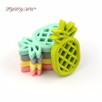 TYRY.HU Pineapple Silicone Teether Babies Teething Pendant Nursing Soft Silicone Beads Safe Toys For Soothe Teething Baby