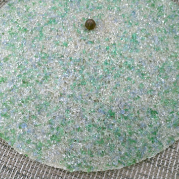 Vintage clip on lamp shade Light Globe Blue Green Clear Popcorn Lucite Spaghetti fiberglass melted plastic beads UFO atomic shape disc