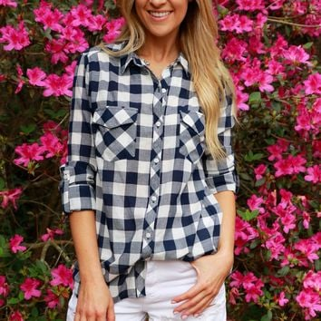 Checked Navy Button Down