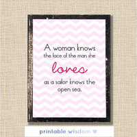 Quote Print, Inspirational printable wall art decor poster - A woman knows the face of the man she loves