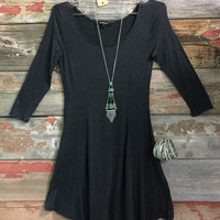 We Both Know Tunic Dress: Charcoal